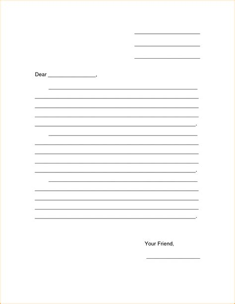 Friendly Letter Template Search Results For Blank Friendly Letter Template