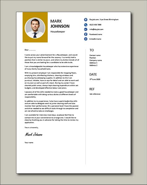 housekeeper cover letter cleaning  sample