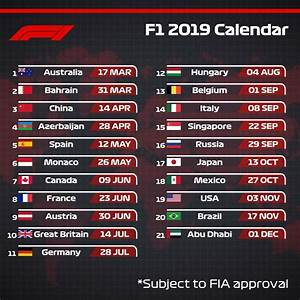 Grand Prix F1 2018 Calendrier : f1 le calendrier provisoire 2019 msports ~ Medecine-chirurgie-esthetiques.com Avis de Voitures