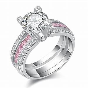 newshe jewellery round pink cz 925 sterling silver wedding With pink and silver wedding rings