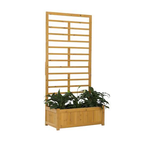 Outdoor Wooden Trellis by Wooden Garden Flower Planter Box With Built In Trellis