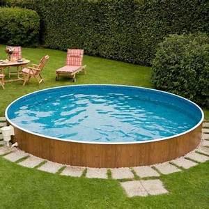 Rundbecken nature wood casas pinterest stahlwandpool for Französischer balkon mit pool garten rund