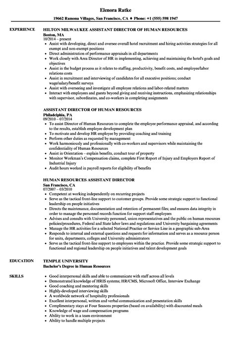 Human Resources Assistant Resume by Human Resources Assistant Director Resume Sles Velvet