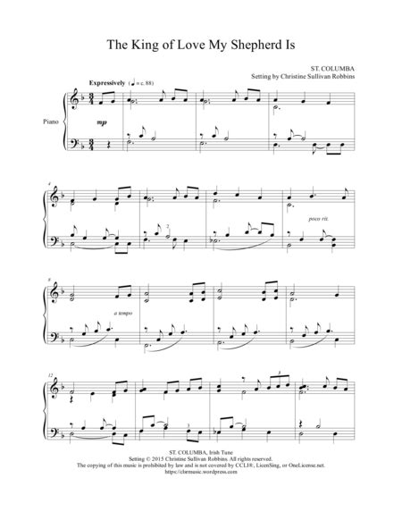 king  love  shepherd  solo piano sheet