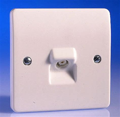 tv coaxial aerial socket white