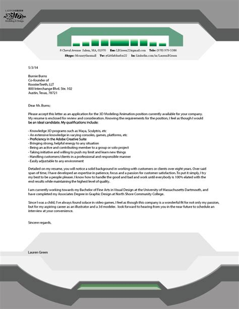 green illustration 3d modeling cover letter