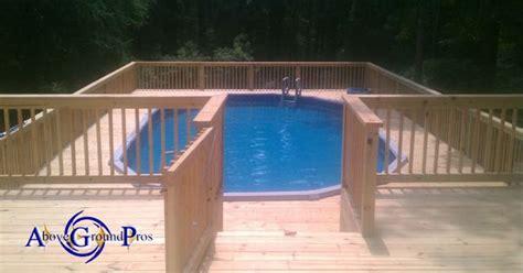 oval surround deck  ground pool decks pinterest
