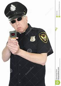 Police Officer, Radar Gun, Speed Trap, Isolated Stock ...
