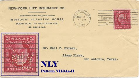 """At insurance advisors of st. U.S. Perfin Covers: """"N"""" Patterns"""