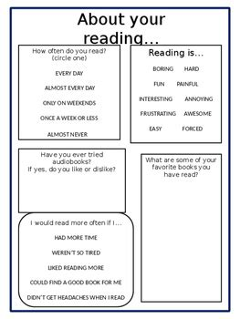 reading interest survey middle school editable