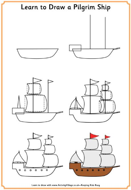 How To Draw A Pilgrim Boat learn to draw a pilgrim ship thanksgiving printables