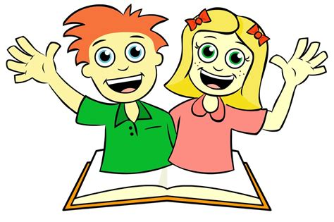 open clipart library boy both waving atop open book by tracey