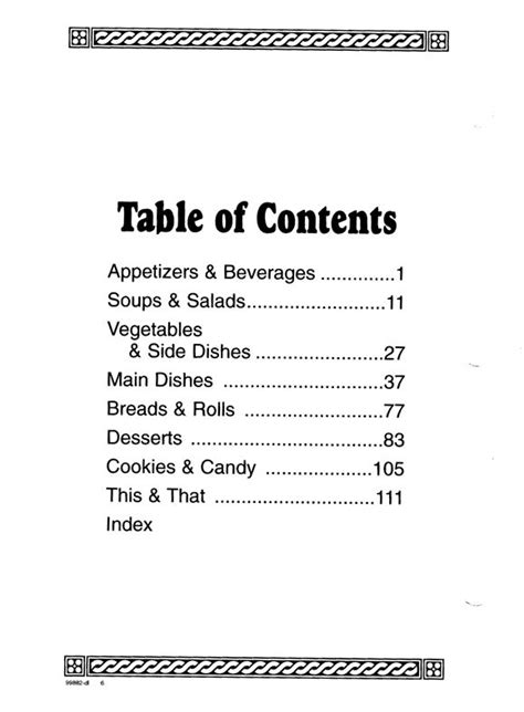 cookbook sections  printable table contents template
