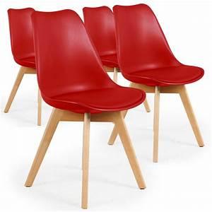 Chaise Scandinave Rouge : chaise scandinave cuir simili rouge ericka lot de 4 pas cher scandinave deco ~ Teatrodelosmanantiales.com Idées de Décoration