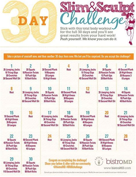 day fitness challenge plan  images  day