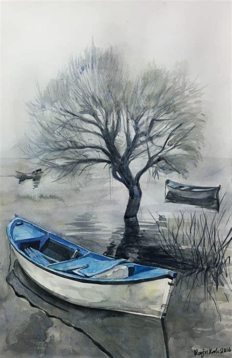 boat water painting art people gallery
