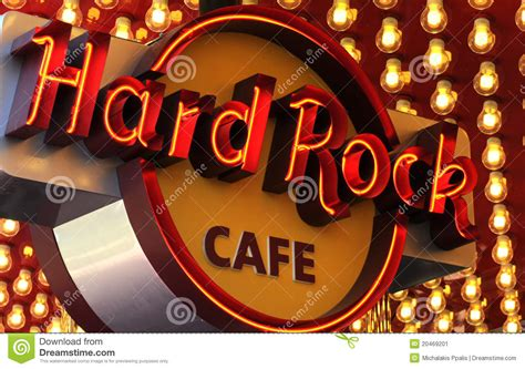 Hard rock Cafe neon sign editorial photo. Image of hard ...