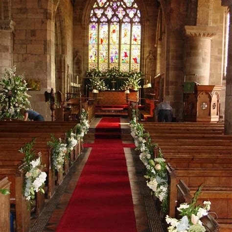 church wedding decorations altar flowers aisle pew ends