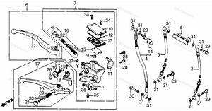 Honda Motorcycle 1984 Oem Parts Diagram For Front Brake Master Cyl     Brake Control Lever