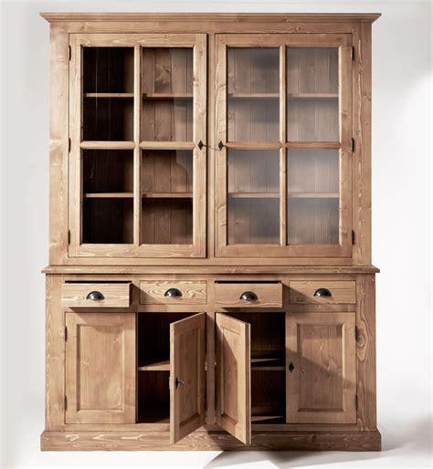 bar meuble cuisine buffet vaisselier bois ciré miel 6 portes 4 tiroirs made