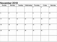 Download November 2018 A4 Calendar Printable Templates