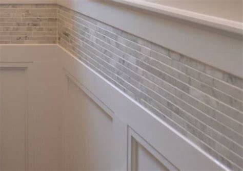 wainscoting  tile border  house ideas
