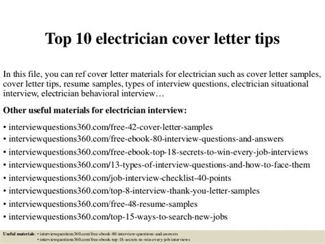 Weaknesses Cover Letter by Top 10 Electrician Cover Letter Tips