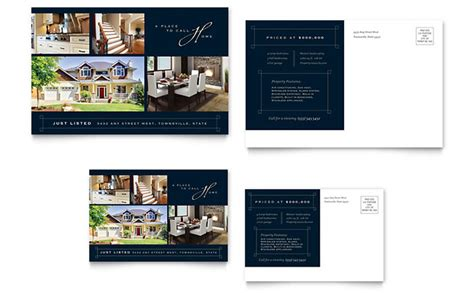 luxury home real estate postcard template design