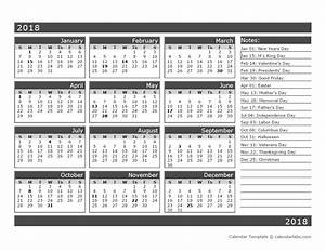 12 month one page calendar template for 2018 free With 12 month planner template