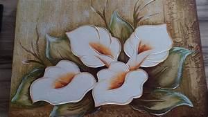 promoção quadro tela pintura a mão flor lírios da paz