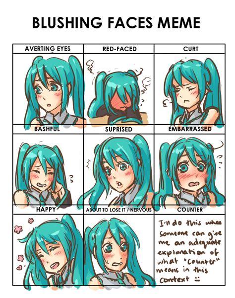 Blushing Memes - blushing faces meme miku by missmeggsie on deviantart