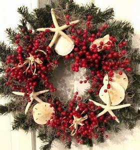 Homemade Christmas Holiday Wreaths with a Beach and