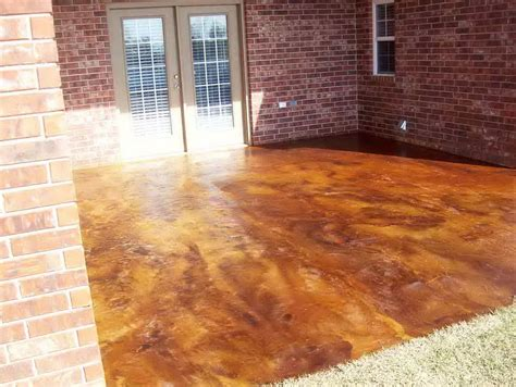 acid stained concrete patio before and after home design