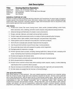 Qualification Sample For Resume Free 8 Sample Machine Operator Job Description Templates