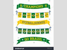 Set Brazilian Flag Themed Bunting Banners Stock Vector