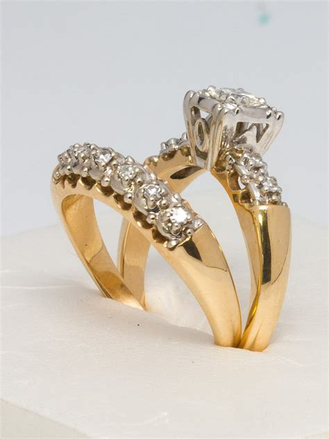 1950s yellow gold and wedding ring set for sale at