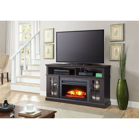 tv cabinet with fireplace media fireplace tv stand tvs up to 65 quot black white 6412