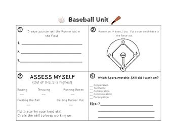 baseball worksheet by mrs barbour physical education class tpt