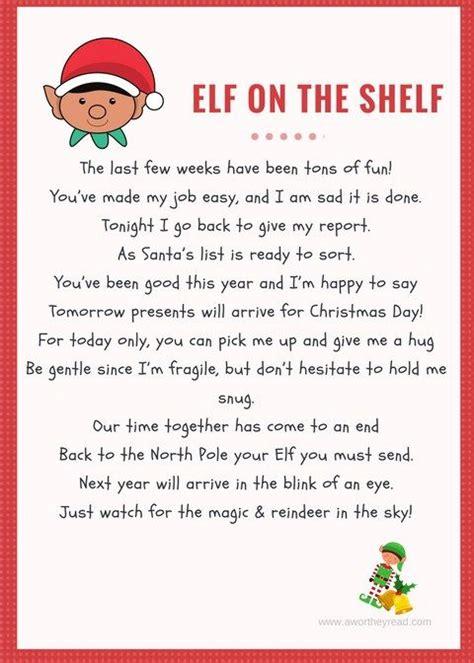 printable elf   shelf goodbye letter elf