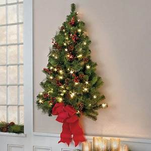 Classic Christmas Pre Lit Wall Tree 3