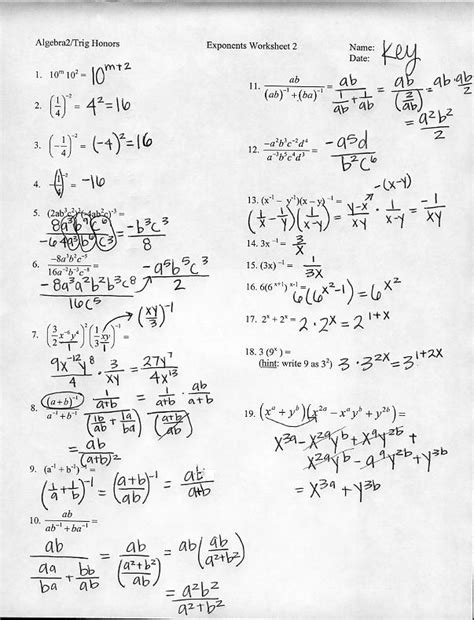 simplifying algebra worksheet and answers fractional exponents worksheet algebra 2 math 127