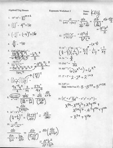 Simplifying Exponents Worksheet Algebra 2  Algebra 2 Rational And Radical Functions Worksheet