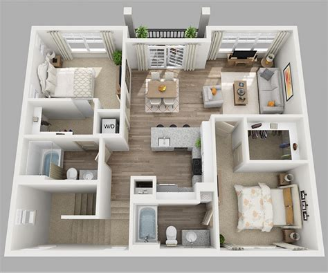 3 Bedroom Apartment House 3d Layout Floor Plans by 20 Designs Ideas For 3d Apartment Or One Storey Three