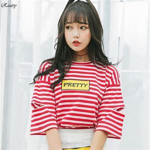 summer 2017 harajuku shirt women ulzzang korean stripes ...