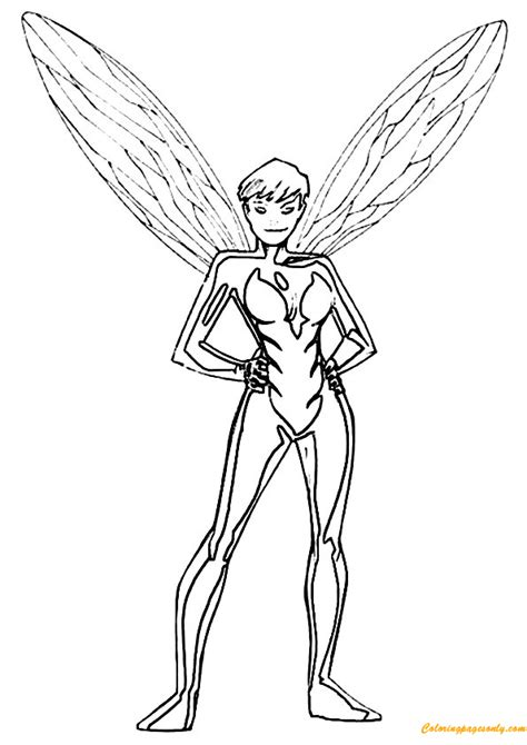 wasp avengers coloring pages avengers team member the wasp coloring page free