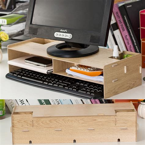 bureau de placement desk storage wood diy increase computer display