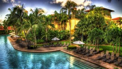 Tropical Resort Pool Hotel Wallpapers Hdr Background