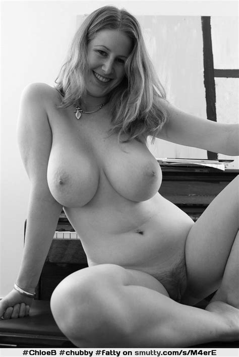 chubby fatty blackandwhite smile blonde necklace nipples