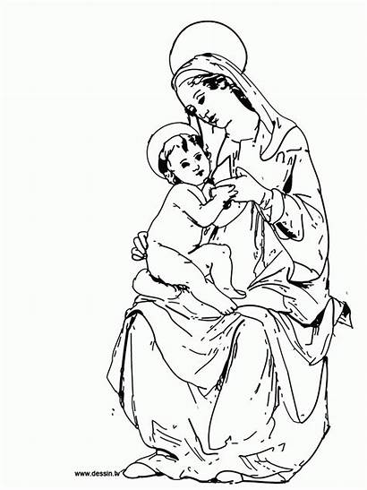 Mary Coloring Virgin Mother Clipart Pages Hail