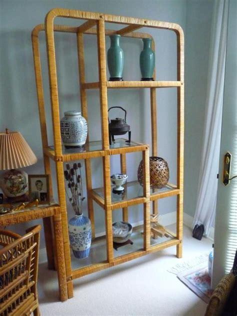 Rattan Etagere by Rattan Etagere W Glass Shelves Ebay
